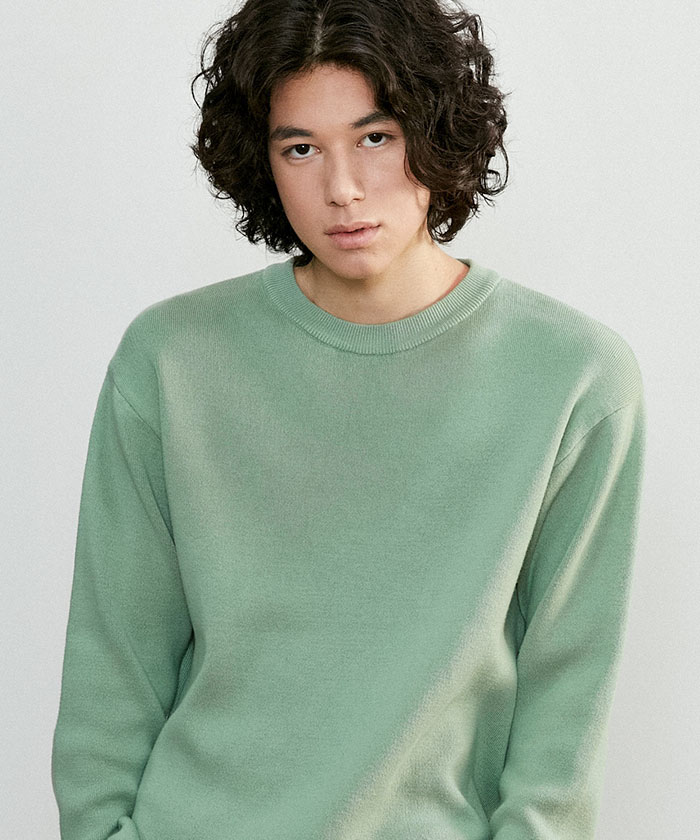 SOFT COTTON ROUNDNECK KNIT[PALE GREEN]