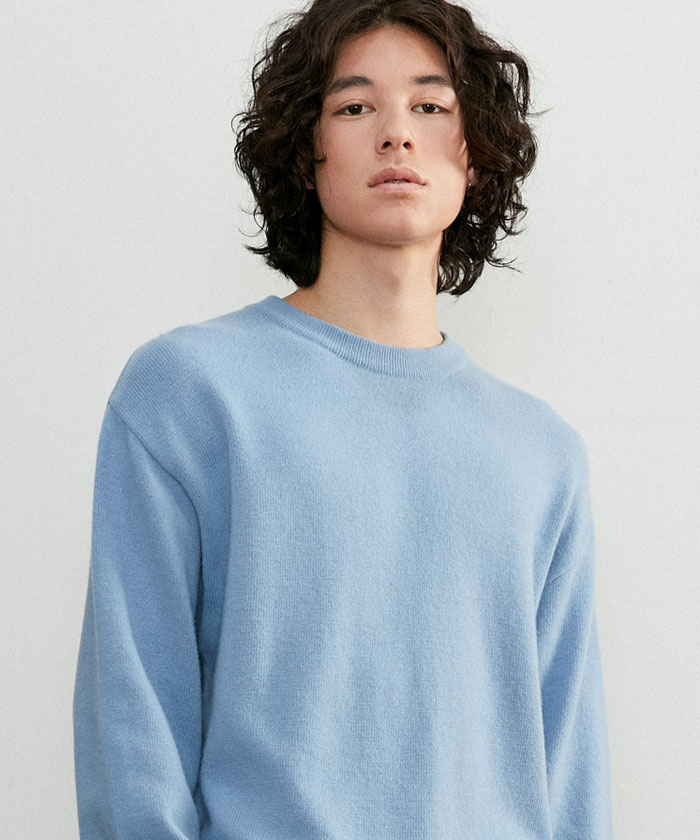 SOFT CASHMERE ROUNDNECK KNIT[GRAYISH BLUE]