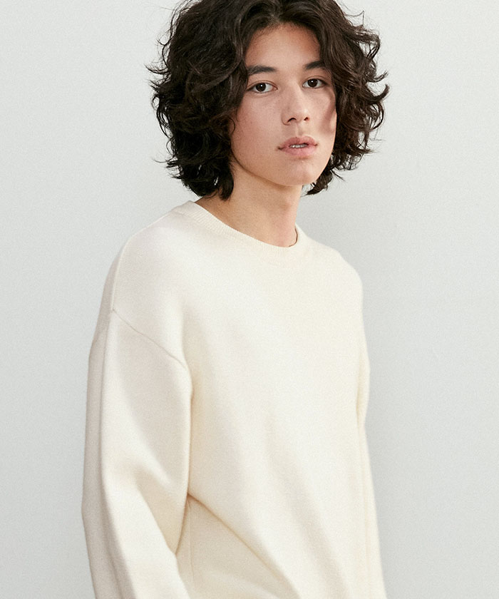 SOFT COTTON ROUNDNECK KNIT[CREAM]