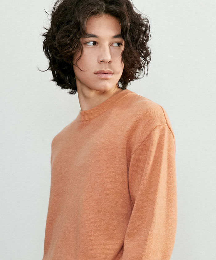 SOFT CASHMERE ROUNDNECK KNIT[SALMON]