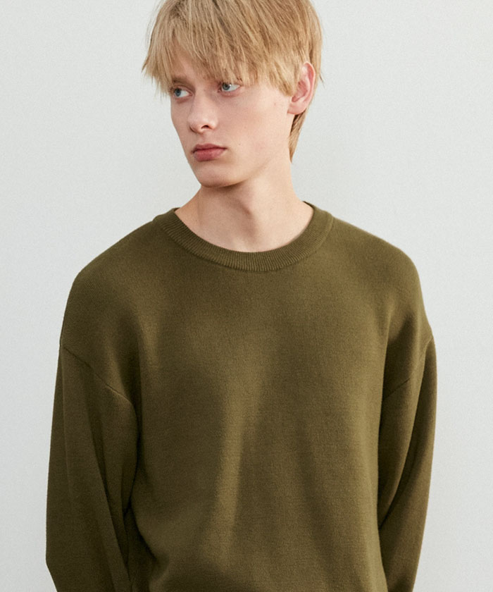 SOFT COTTON ROUNDNECK KNIT[KHAKI]