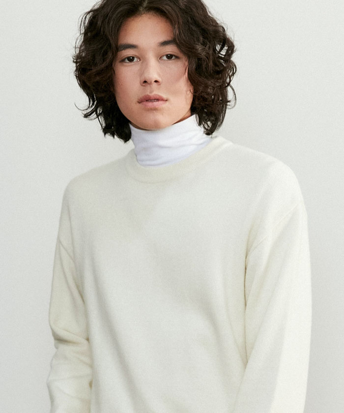 SOFT CASHMERE ROUNDNECK KNIT[CREAM]
