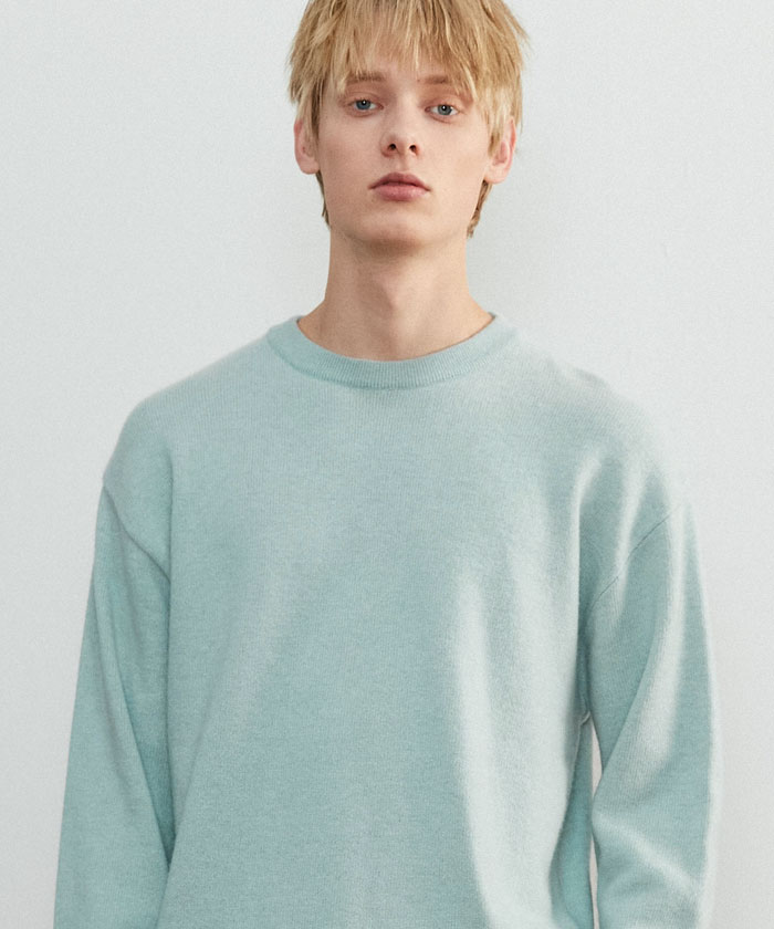 SOFT CASHMERE ROUNDNECK KNIT[FROST GREEN]