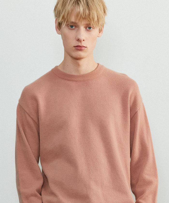 SOFT CASHMERE ROUNDNECK KNIT[DUSTY CORAL]