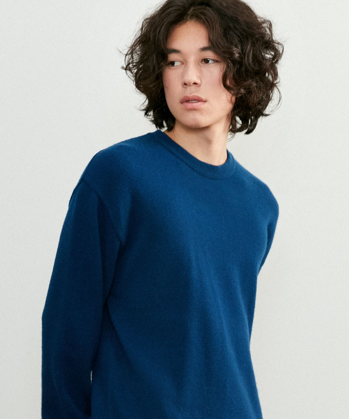 SOFT CASHMERE ROUNDNECK KNIT[COBALT BLUE]
