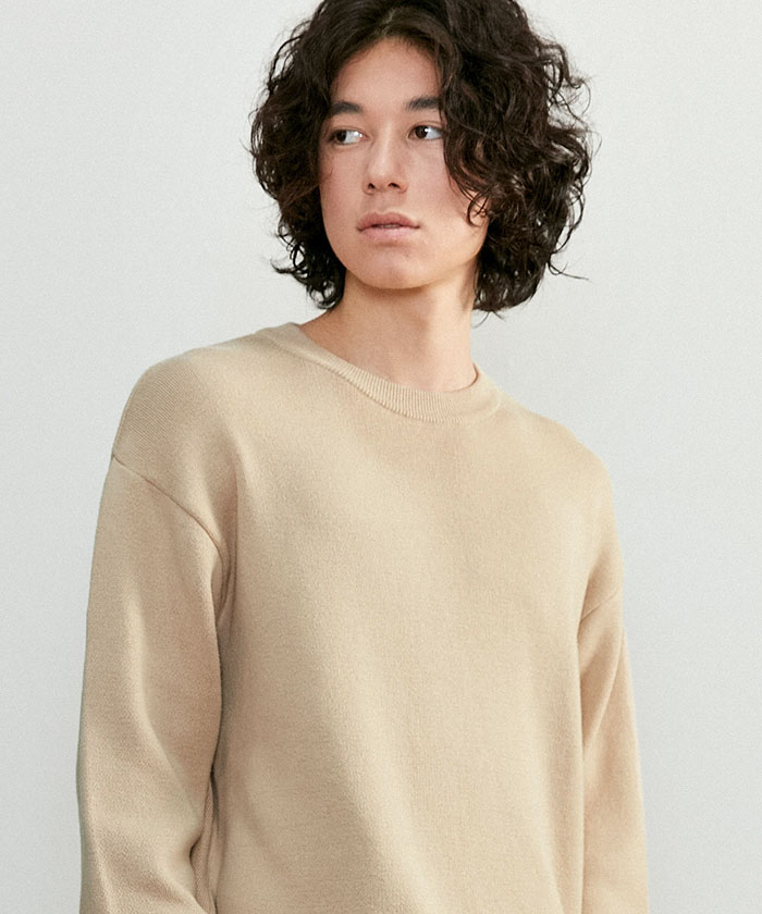 SOFT COTTON ROUNDNECK KNIT[SAND BEIGE]